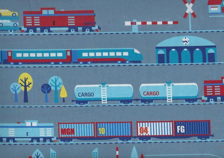 Stoff Autos - Baumwollstoff Meterware Kinderstoff Eisenbahn grau - ein Designerstück von Sonni-Mami bei DaWanda