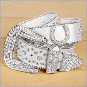 Lucky Horse Shoe Western Style Bling Belt