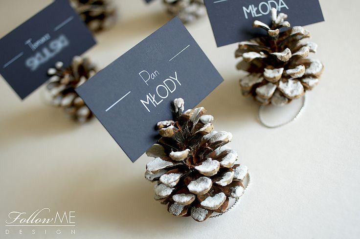 Winietki ślubne w szyszkach / Zimowe dekoracje ślubne od FollowMe DESIGN / Wedding Place Cards in Cone / Winter Wedding Decorations & Details by FollowMe DESIGN