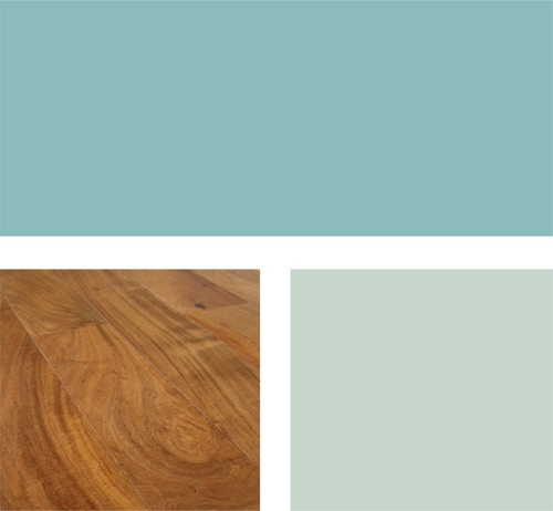 Example palette: Turquoise remains a popular color for interiors. Try (clockwise from top) Reflecting Pool SW6486 and Slow Green SW6456 (both from Sherwin-Williams) with a warm, honey-stained oak floor.