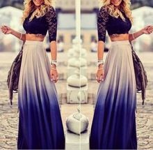 2015 nova moda das mulheres saias longas plissadas gradiente Bohemian meninas Casual Tropical azul Maxi saia Plus Size roupas baratas(China (Mainland))