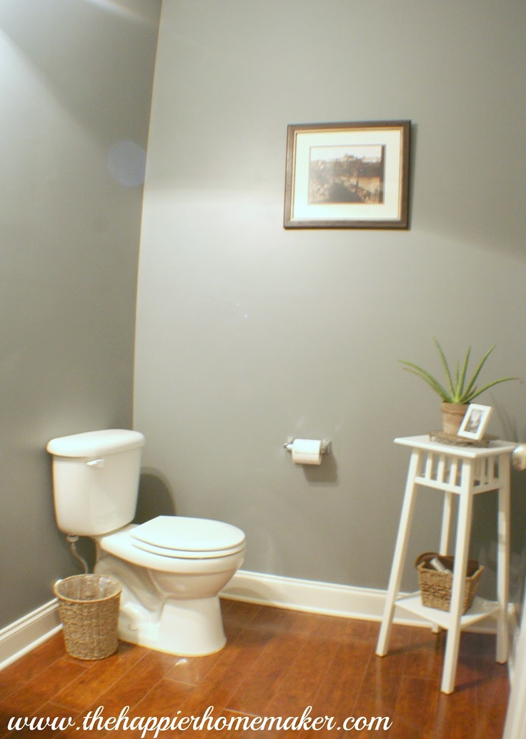 Pictures In Gallery Powder Room Paint Update The Happier Homemaker love the plant stand