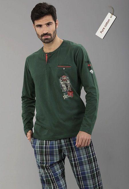 Pijama massana invierno pantalón tela, algodón 100%  Bolsillo de ojal