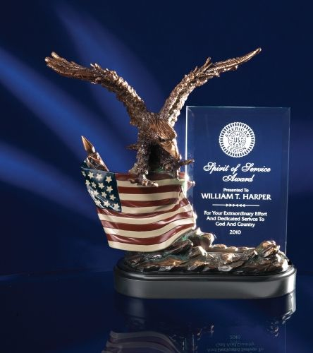 Bronze Finish Eagle with Flag and Crystal Plaque : The Trophy Shop | Gainesville FL Awards & Trophy Store | Trophies | Engraved Plaques | Signs