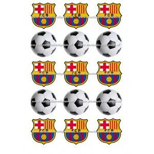 Ouwel -Barcelona & Voetbal Cupcakes - 5cm