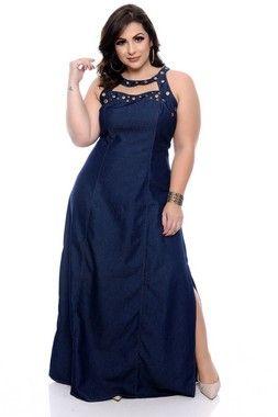 7fd03f631ac1 Vestido Jeans Plus Size Anabela | Daluz Plus Size - Loja Online - Daluz Plus  Size | A Loja Online Plus Size que mais cresce no Brasil!