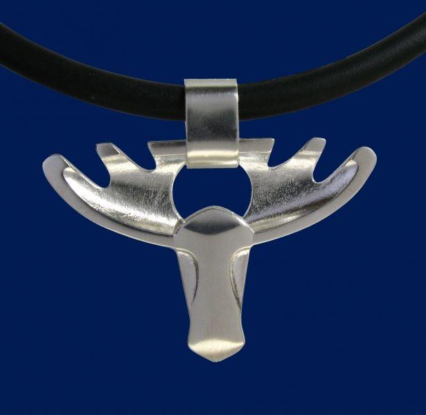 Moose head, silver pendant. Taigakoru - jewellery made in Lapland / Finland. Design Sami Viitasaari