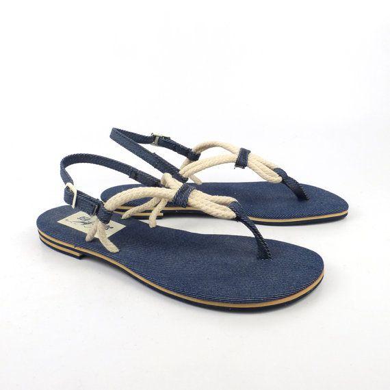 Rope Denim Sandals 1980s Flip Flops Shoes by purevintageclothing