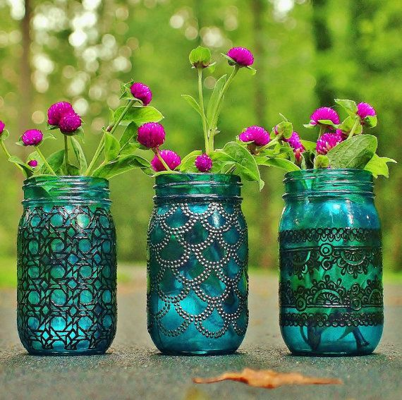 Bohemian Vases Trio of Mason Jar Lanterns Teal Blue by LITdecor