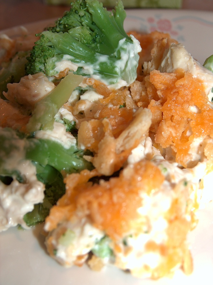 Joy's Broccoli Chicken Casserole - my family LOVES this!! Mix 1 can cream of chicken soup with 1 cup of mayo.  Add 4 cups cubed cooked chicken breasts.  Line the bottom of a 9x13 pan with frozen broccoli and spread the chicken mixture on top.  Separately, mix 1 sleeve of crushed Ritz or saltine crackers, 2 cups shredded cheddar cheese, and 1 stick of melted butter.  Cover and bake for 25 minutes at 350, remove cover and bake another 15.  YUMM-O!