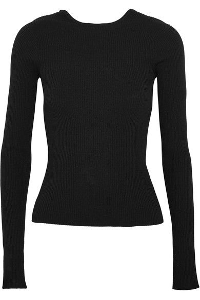 Tibi - Lace-up Ribbed-knit Sweater - Black - medium