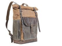 Light brown backpack. Waxed canvas and leather.