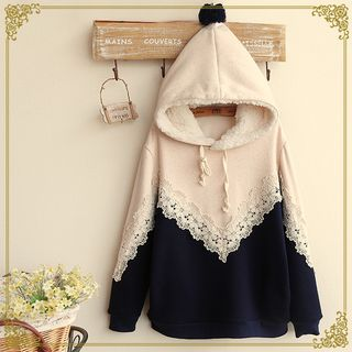 Buy Fairyland Two-Tone Lace Trim Melange Hoodie at YesStyle.co.uk! Quality products at remarkable prices. FREE SHIPPING to the United Kingdom on orders over £25.
