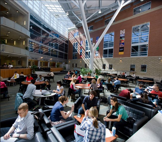 The Science Complex Atrium is full of bright, natural light, and is a great place to catch up with friends or study.