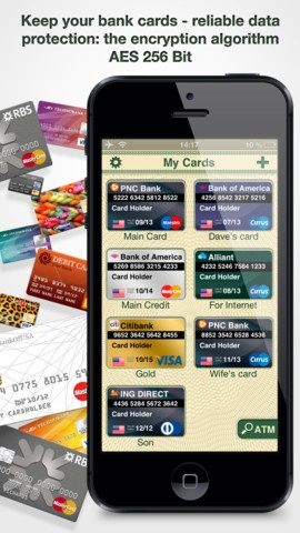 Cards On Palm : Credit Cards Wallet & ATM Finder #iPhone #iPad #Apps -Securely list your credit/debit cards