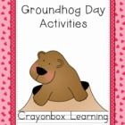 Groundhog puppet pattern, groundhog mask, writing practice, and learning centers. $