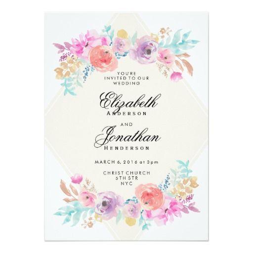 Pastel Watercolor Flowers Wedding Invitation