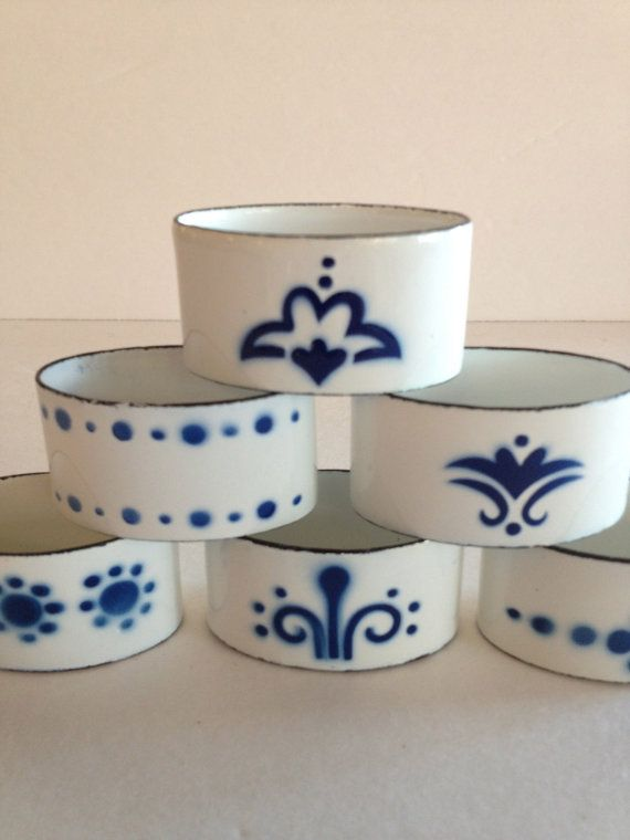 Scandinavian Napkin Rings w Charming Nordic Pattern - French Blue & White - Charming Folk Pattern and Design