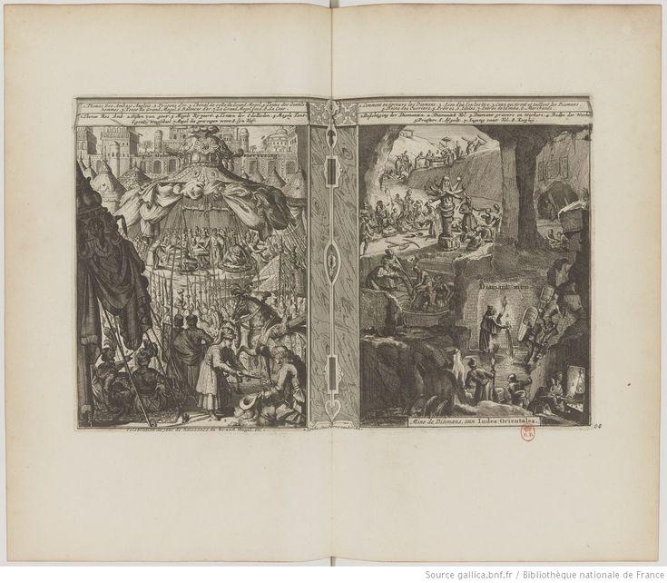 La galerie agréable du monde, par Van der Aa, Pieter Boudewyn, Tome second de Perse & Mogol, 1729; vue 24 - Pl. 30. Célébration du jour de naissance du Grand Mogol - Mine de diamants aux Indes Orientales;