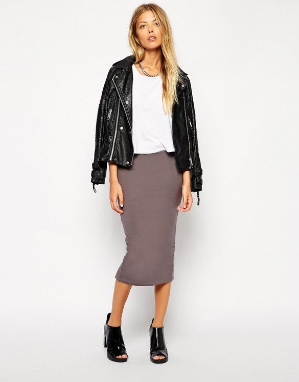 16 Classic Skirts You Can Wear With Anything ____ grey pencil skirt in jersey