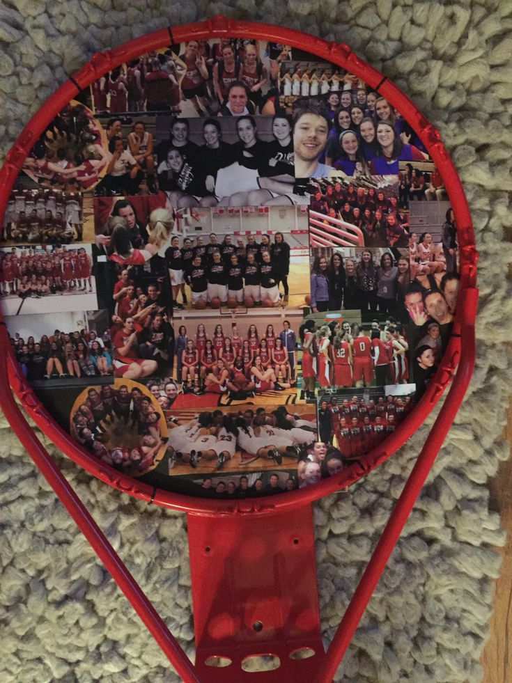 Gift for basketball Coaches for an easy DIY. Use the basketball rims as the picture frame and Modge Podge pictures to a piece of circular cardboard. Lastly poke holes in the cardboard and zip-tie it to the basketball rim. Can get a basketball rim for $30 on Amazon.