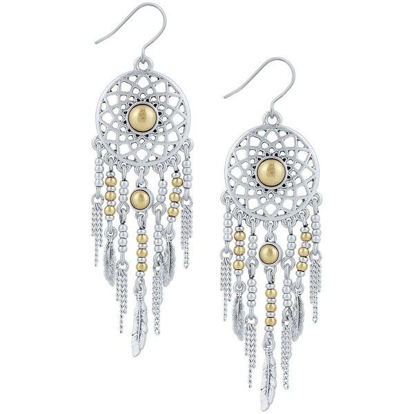 Lucky Brand New West Dream Catcher Earrings (44 CAD) ❤ liked on Polyvore featuring jewelry, earrings, silver, two tone jewelry, two tone earrings, lucky brand earrings, beading earrings and silvertone earrings