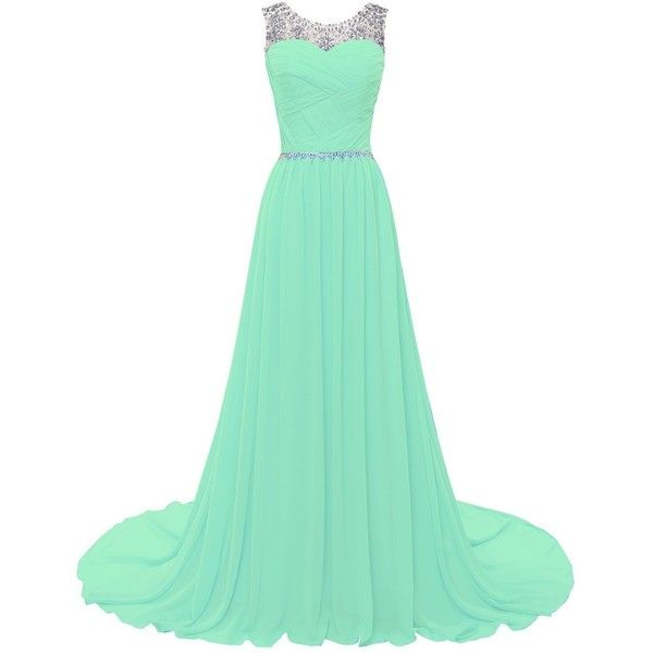 Famicuty Beaded Straps Bridesmaid Prom Dresses with Sparkling... ($36) ❤ liked on Polyvore featuring dresses, embellished dress, cocktail bridesmaid dresses, sparkly prom dresses, sparkly cocktail dresses and green sparkly dress