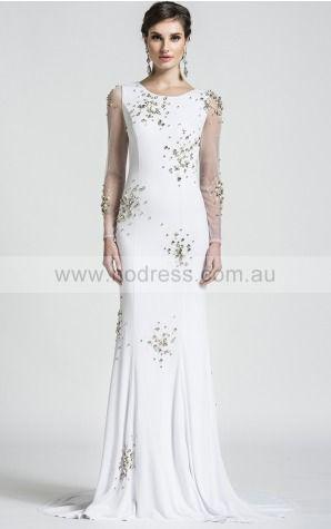 Sheath Long Sleeves Jewel Backless Floor-length Wedding Dresses fubf1001--Hodress