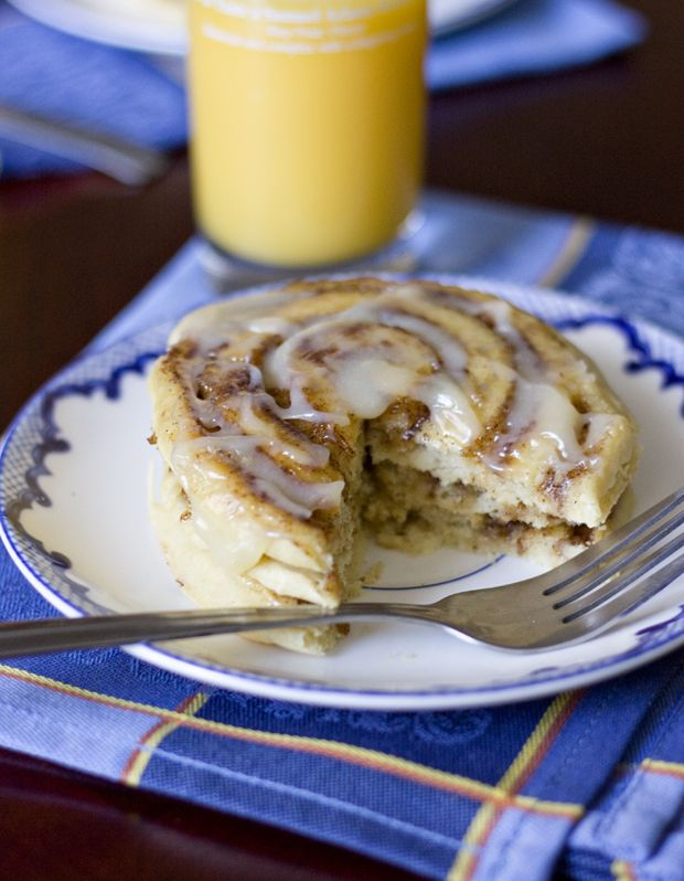 Cinnamon Roll Pancakes. My mom loves making these!