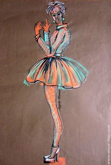 """Girl in an orange dress"" by Angela Kurnia. A2 size. Colorpencil & bleach on color paper.#art #fashionillustration #freelanceillustrator #design #fullskirt #pose #freehanddrawing"
