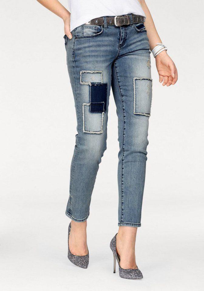 c10e1a5f5d Arizona Boyfriend-Jeans »mit Destroyed Effekten und Patches«, 7/8 Länge