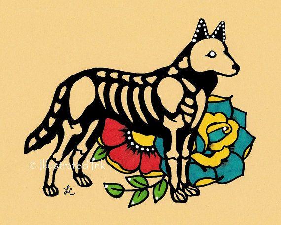 Day of the Dead Dog GERMAN SHEPHERD Dia de los by illustratedink