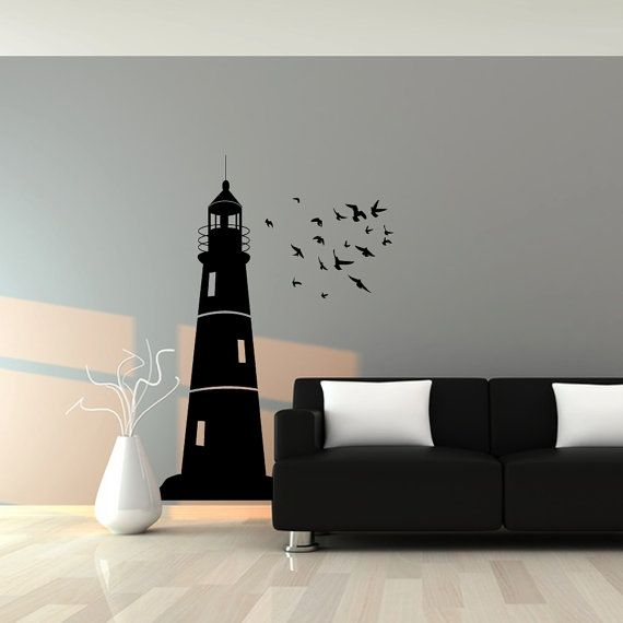 Wall Decal : Lighthouse and Flock of Birds Nautical Vinyl Wall Art Decal Sticker on Etsy, $63.17 CAD