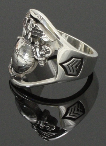 The Marine Corps Ring ~ Open Back Design and Eagle Globe and Anchor custom with your Rank on side - Sterling Silver
