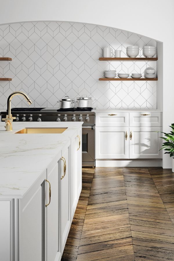 Love The Simple And Generous Arch Over The Range Kitchen Backsplash Designs Home Kitchens Farmhouse Kitchen Backsplash