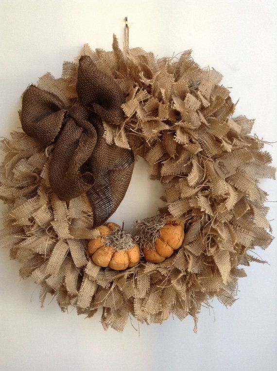 "Fall Burlap Wreath, LARGE 24"", Pumpkin Wreath, Tan Wreath, Autumn Wreath, Thanksgiving Wreath"