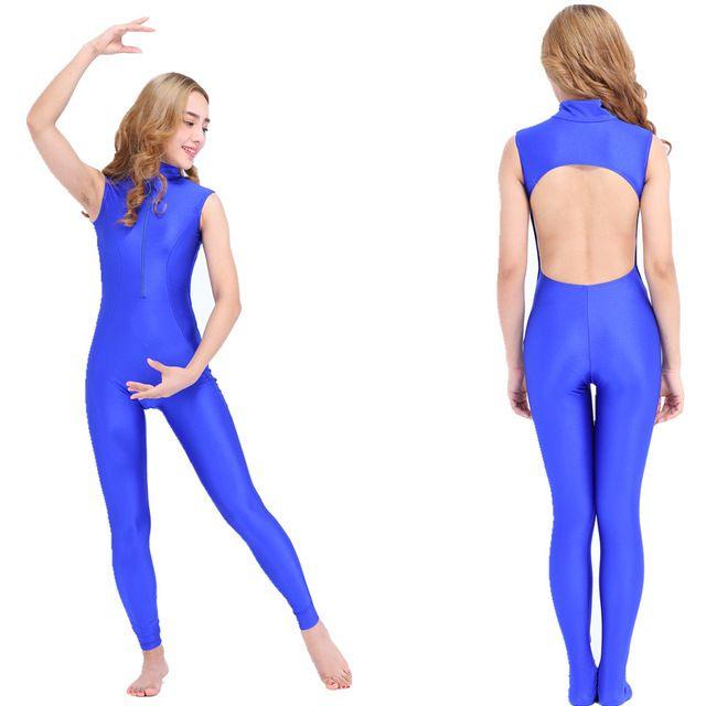 Sexy dos nu Unitard Lycra Spandex Zentai Body Col Roulé Sans Manches Unitard Gymnastique Noir Adulte Catsuit costumes De Danse