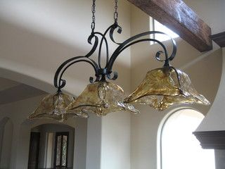 Kitchen island light fixture - mediterranean - kitchen lighting and cabinet lighting - sacramento - by Custom Homes by Miller