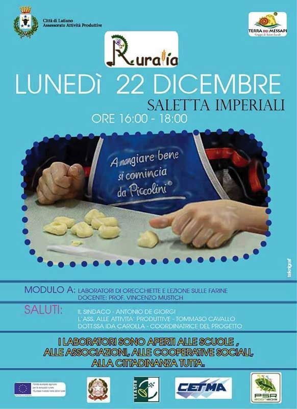 #Ruralia, laboratorio di #pasta fatta in casa, lunedì 22 #dicembre 2014 a #Latiano (Br)
