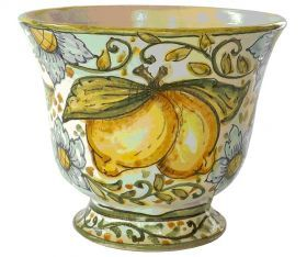 "Flowerpot 2 ""Fruits and Flowers"" Vase holder made of in majolica and hand painted with crackle glaze. Belonging to the line ""Fruits and Flowers"" and is available with decorum lemons (n.1) and decorated with pomegranates and sunflowers (n.2). #madeinitaly #artigianato #majolica #oggettistica #craftobject"
