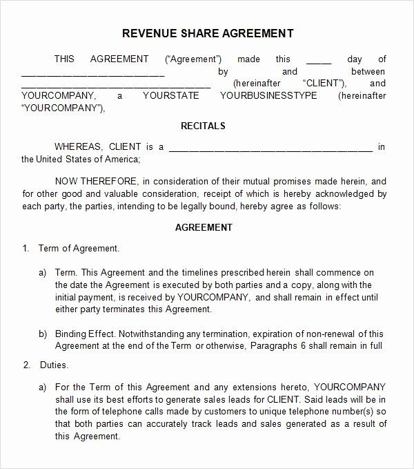 Equity Share Agreement Template Inspirational Profit Sharing Agreement 7 Free Pdf Doc Download Rental Agreement Templates How To Plan Reference Letter Template