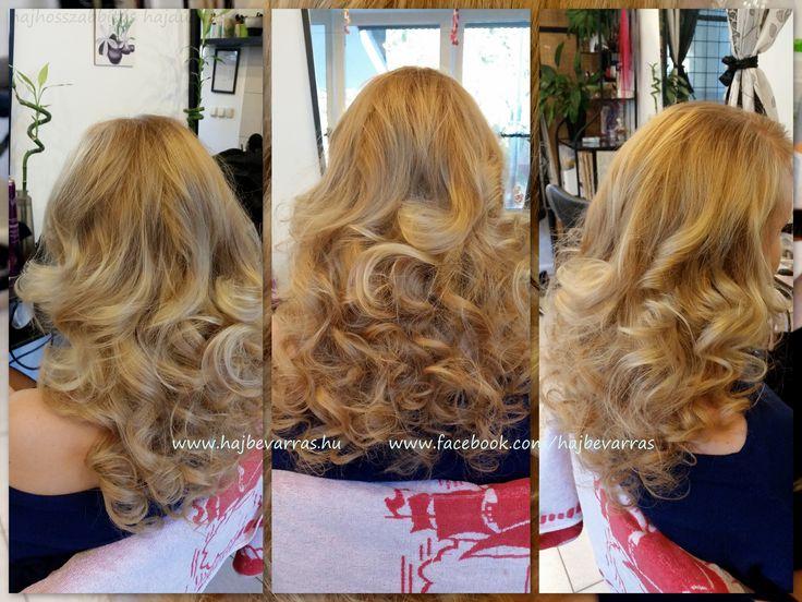 Hajhosszabbítás 60 cm-es európai hajból, 3 soros, mikrogyűrűs felvarrással.  www.hajbevarras.hu  #hajhosszabbítás #hajdúsítás #hair extension