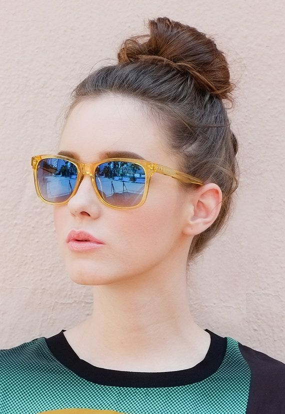 Transparent yellow clear acetate sunglasses by TrichromeEyewear #etsy #sunglasses #handmade #transparent
