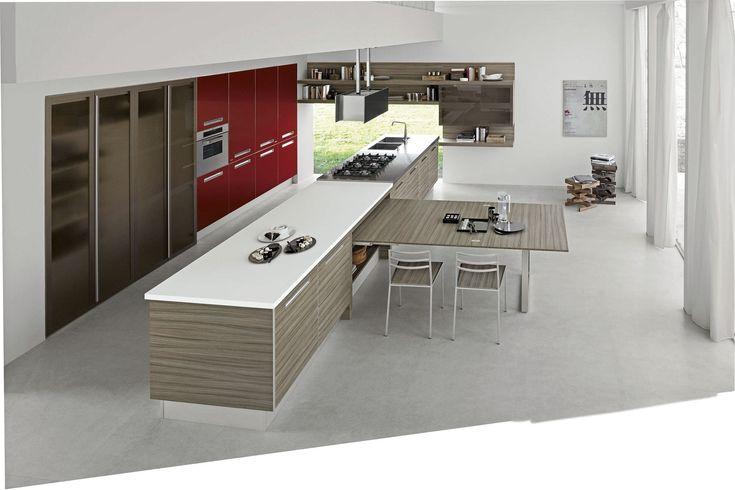 Cocina moderna / laminada / con isla / lacada - LESS CHIC by Alfredo Zengiaro - Febal Cucine