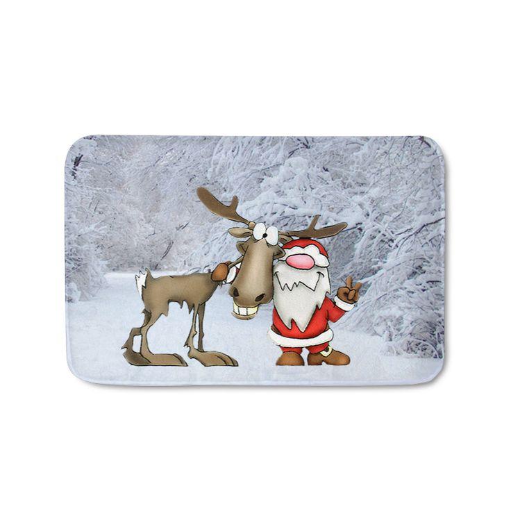 Santa Claus and Reindeer Doormat #christmas #dormats