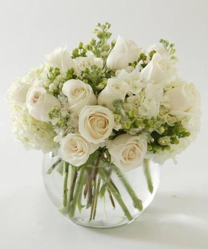 Tranquility Bouquet-Tranquility Bouquet peacefully combines White Roses with White Hydrangea in a bubble bowl. #PeoplesFlowerShops #AlbuquerqueFlowers #SympathyFlowers