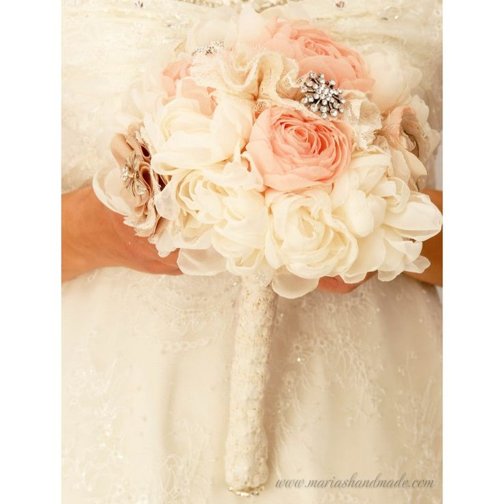 Fabric bridal bouquet, Vintage style bridal bouquet, by M.aria's Handmade fabric bridal bouquets