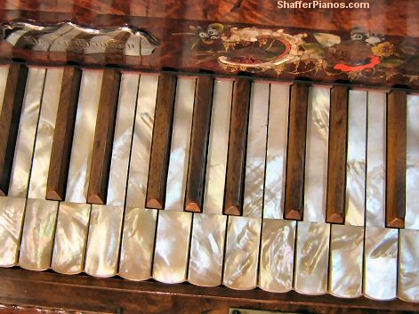 Mother of Pearl Piano Keys - Antique Square Grand Pianos Rebuilt and Restored - Steinway, Bosendorfer, Chickering, Knabe, Mason & Hamlin Grand Pianos, Upright Pianos, Square Pianos for sale