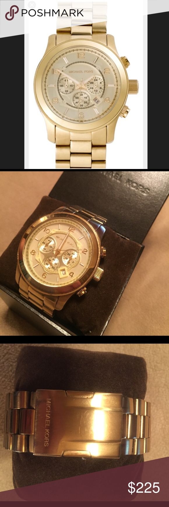 """Michael kors oversized runway watch Michael Kors Men's MK8077 Runway Watch, 45mm COLOR GOLD! Although the item is listed as """"men's,"""" this watch can be worn by any gender and looks great and stylish on ANYONE!  Great for stacking with different sized bangles and cuffs!  Item was sized to previous owner but does come with extra links.  Watch is used with minimal scratches, new battery is needed. PRICE IS NEGOTIABLE!  please contact with any inquiries :) Michael Kors Accessories Watches"""