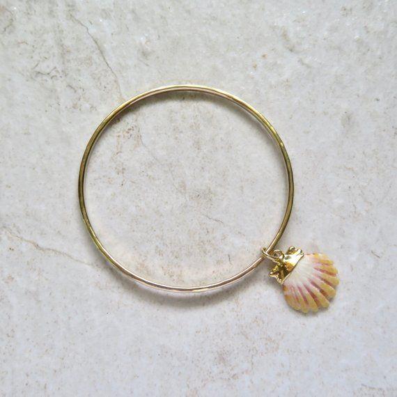 Gold Sunrise Shell Bangle Hawaii Beach Jewelry Stacking Bangles Hawaiian Shells Surfer Gift Idea Handmade Maui Hammered Bracelet